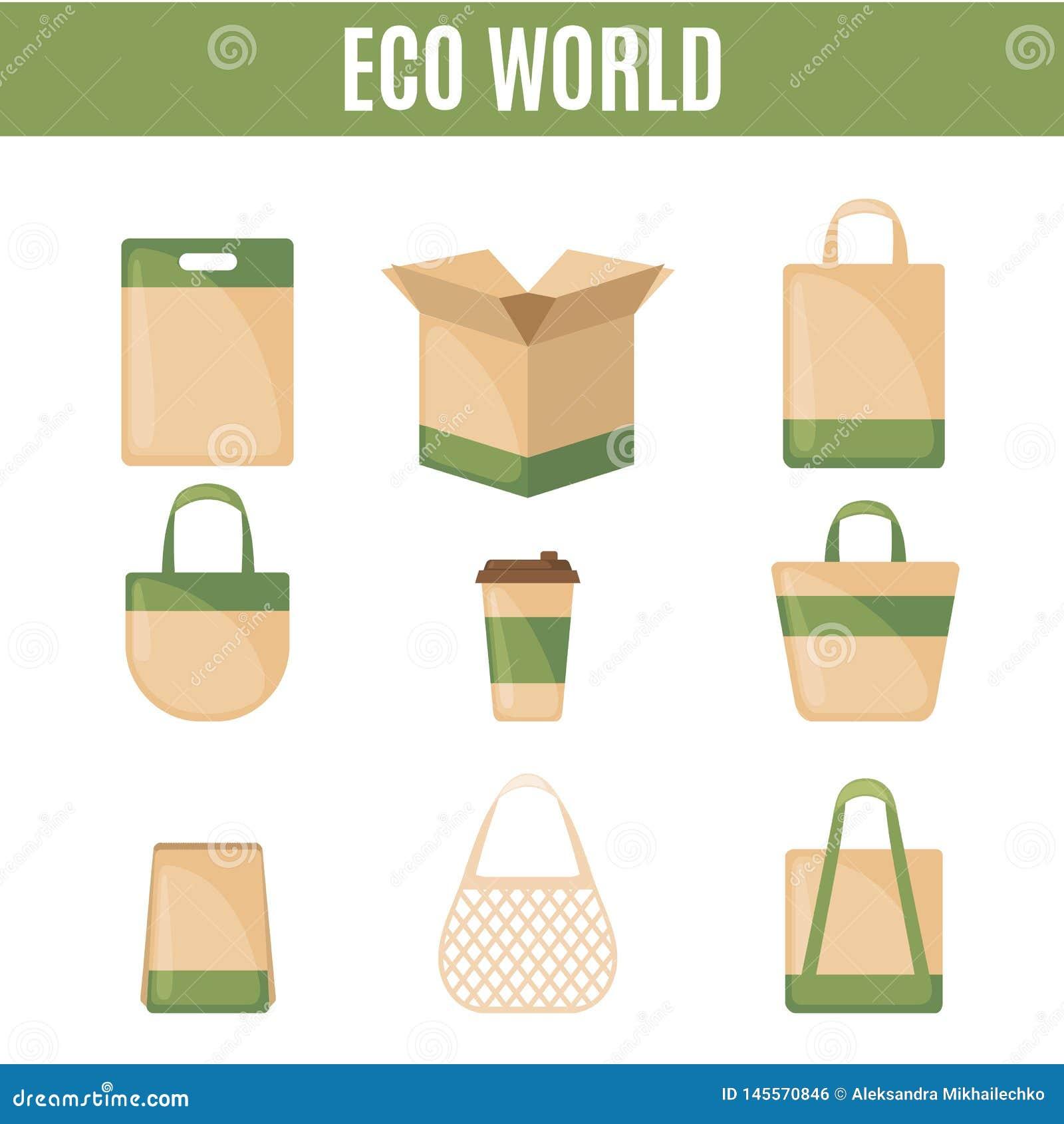 Set pakuje ikony w mieszkanie stylu Eco