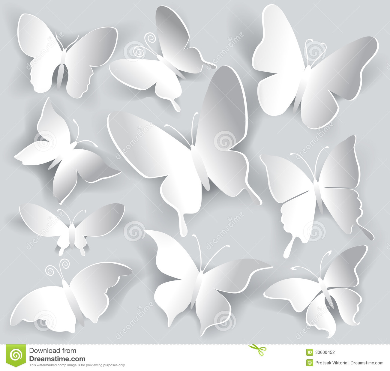 Set of paper butterfly stock photography image 30600452 for White paper butterflies