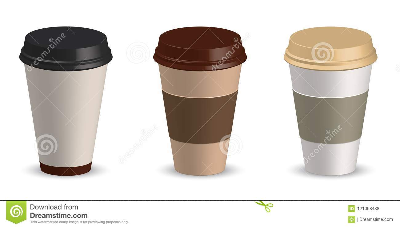 Set of paper cup coffee vector illustration. Cup coffee mockup. Template for your design project