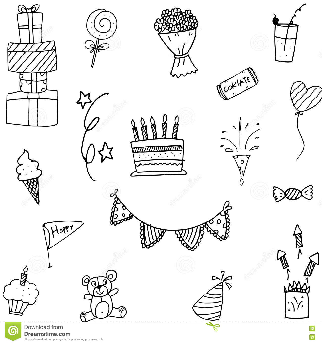Set Party Doodle Hand Draw Stock Vector Image 72381112