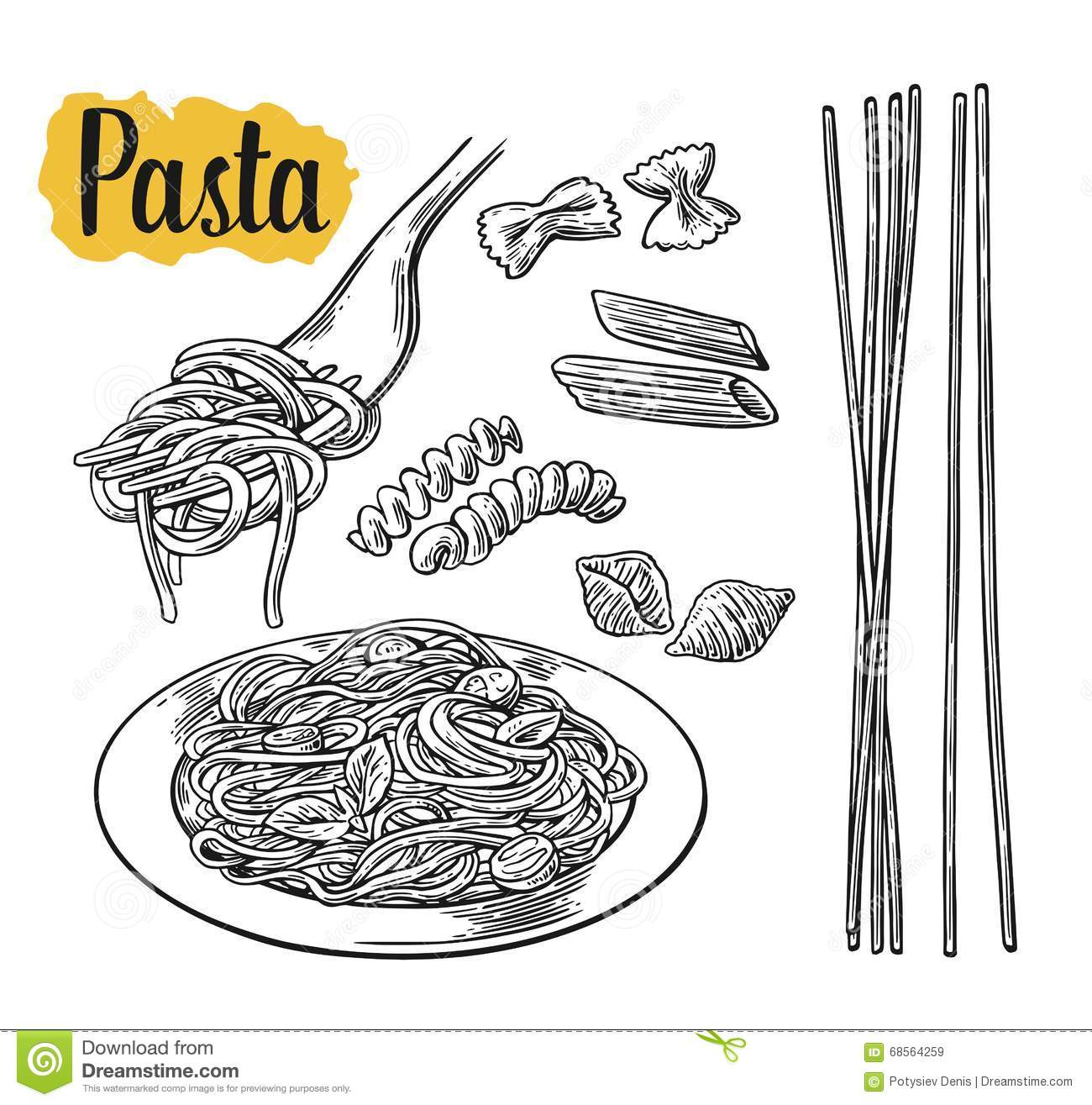 Pasta illustration  Etsy