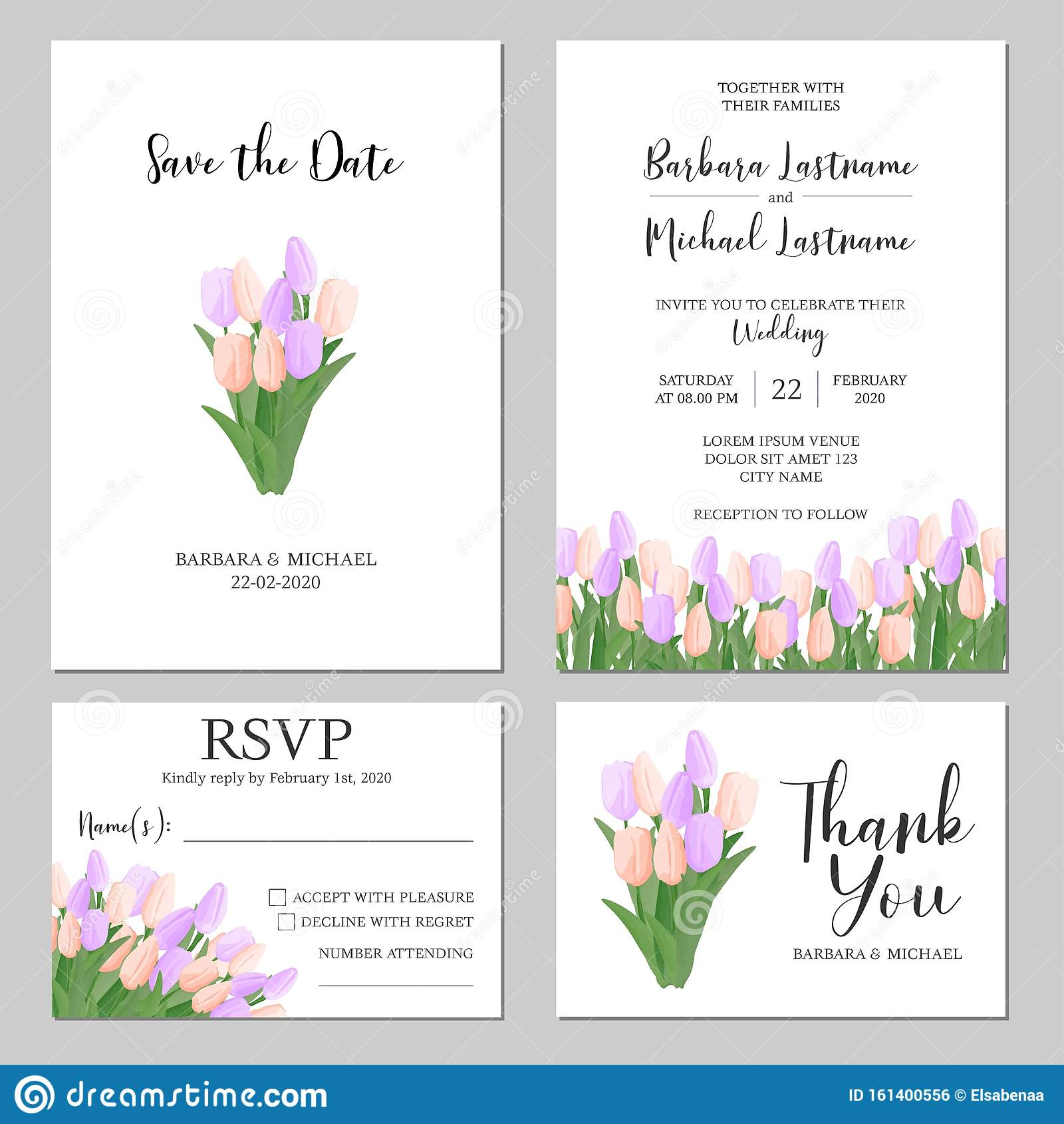Pastel Color Tulip Floral Wedding Invitation Template Stock ...