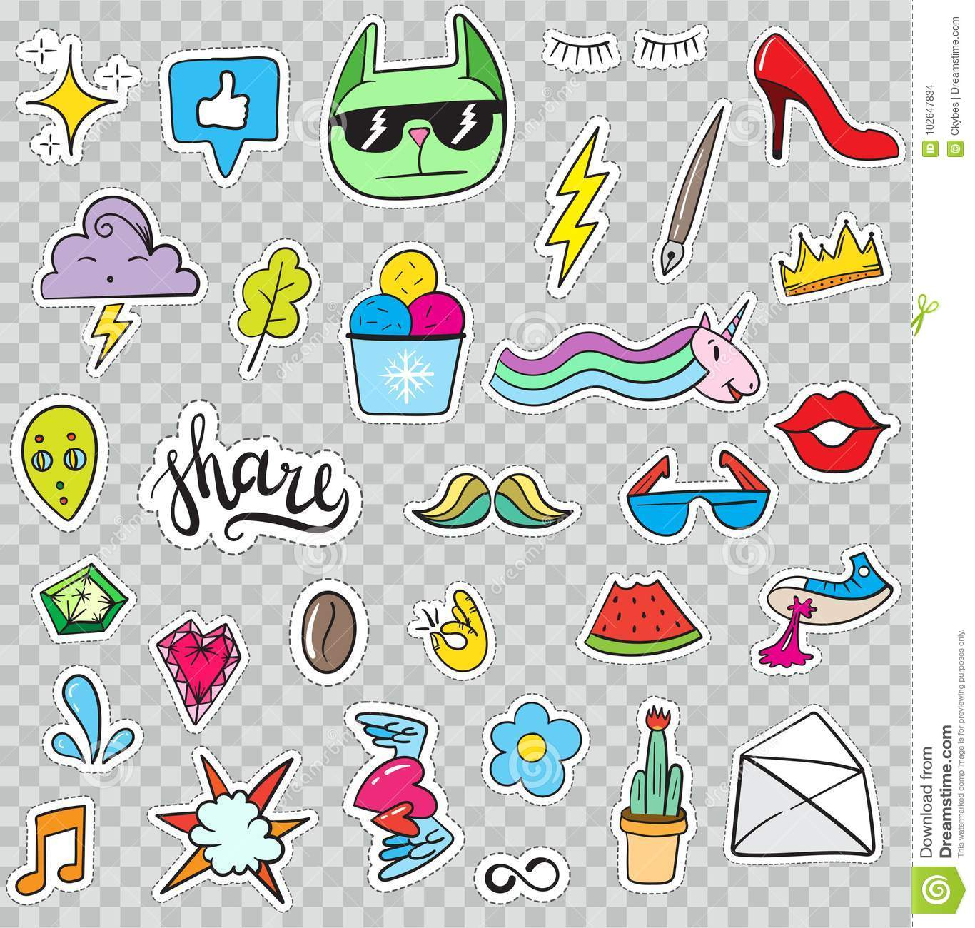 818c8e25833b Hand Drawn Vector. Cute Fashionable Stickers Collection. Doodle Pop art  Sketch Badges and Pins. More similar stock illustrations