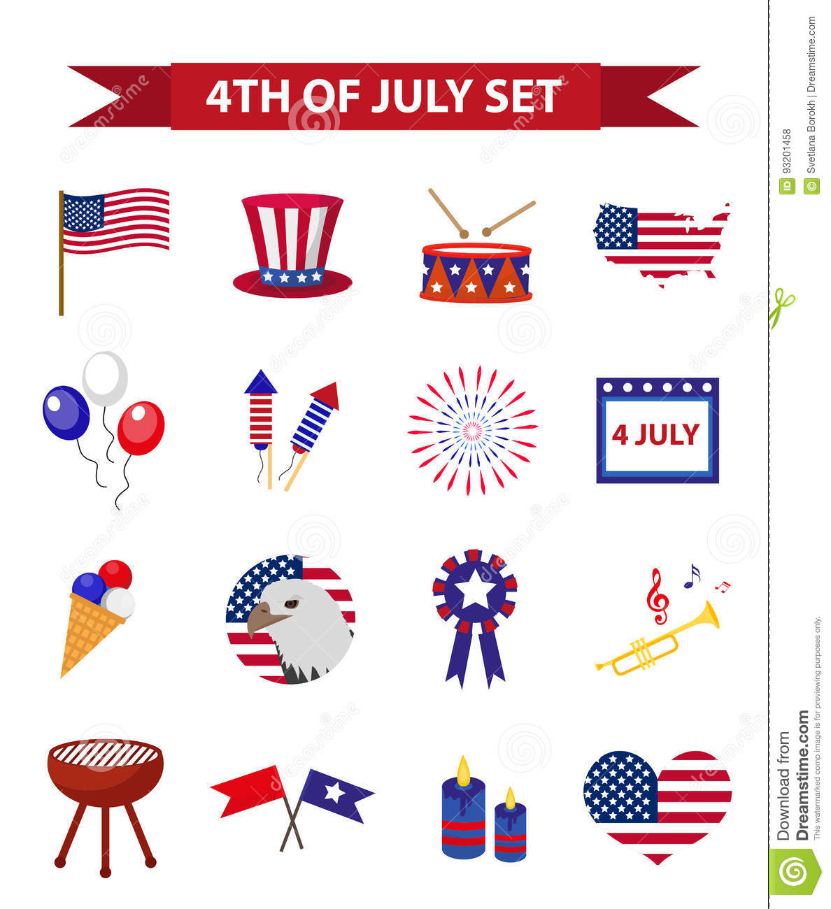 72b62b483 Set Of Patriotic Icons Independence Day Of America. July 4th ...