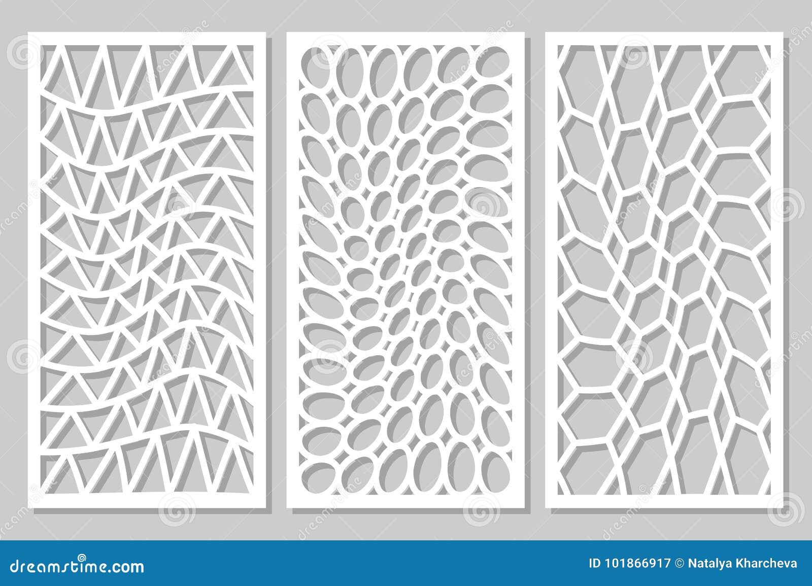Set Pattern Geometric Ornament  Card For Laser Cutting