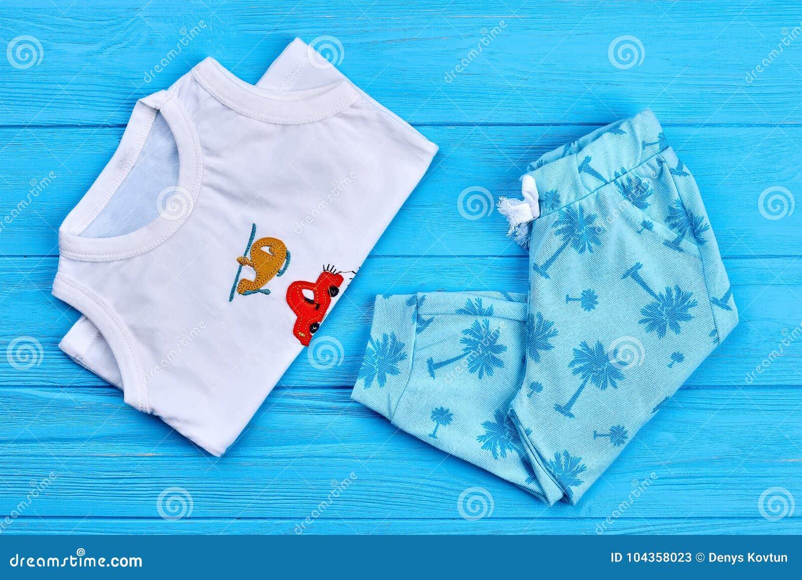 fcf76048a Set Of Patterned Kids Summer Wear. Stock Image - Image of pants ...