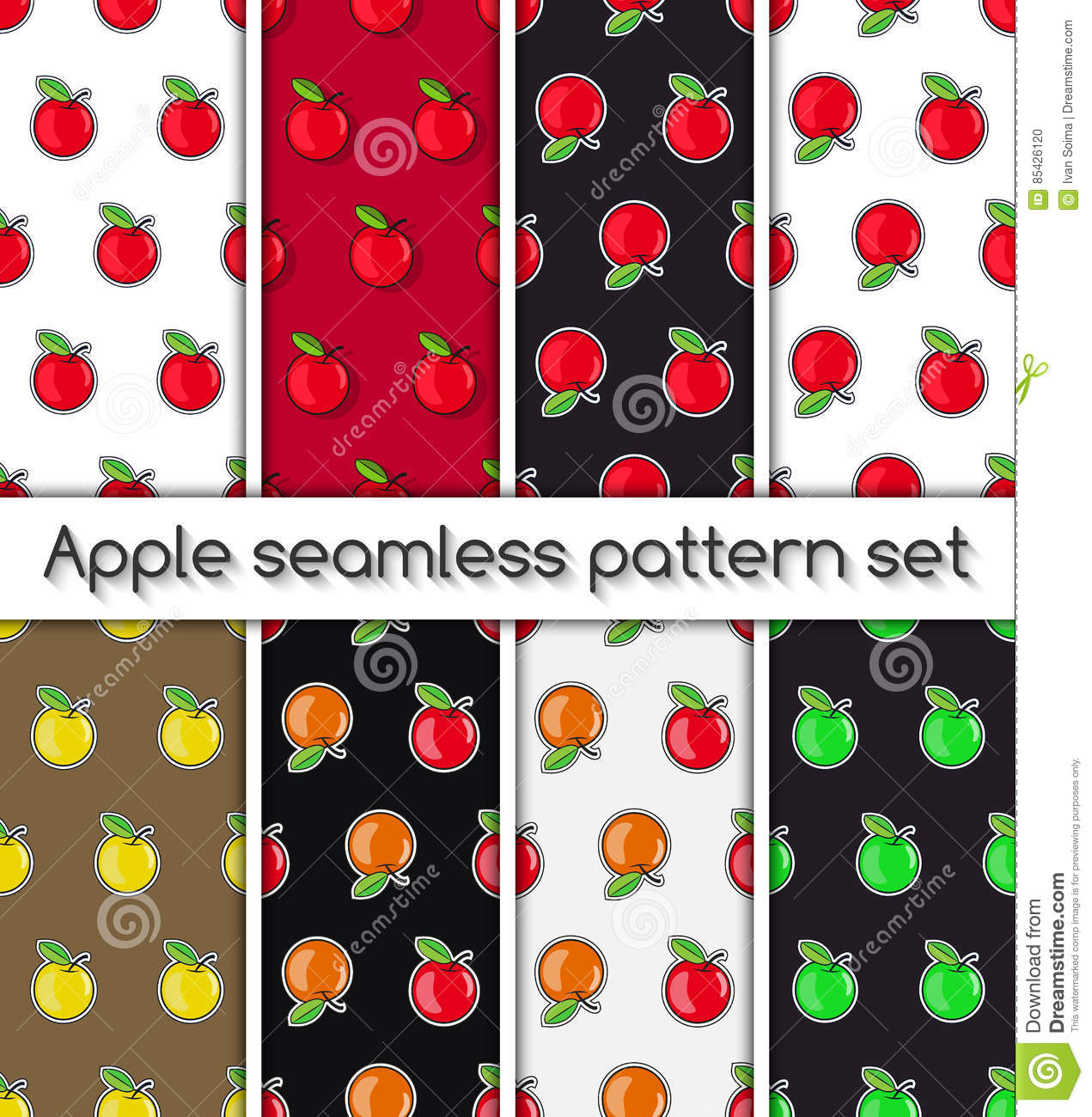 Set of patterns with apples, seamless texture, wallpaper.