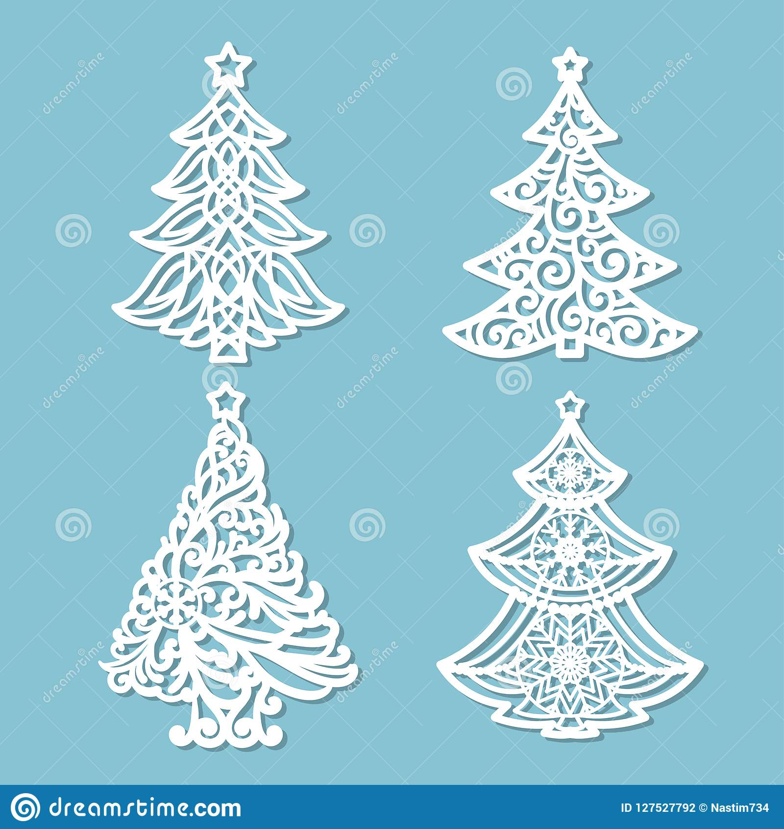 set of patterns for laser cutting christmas tree
