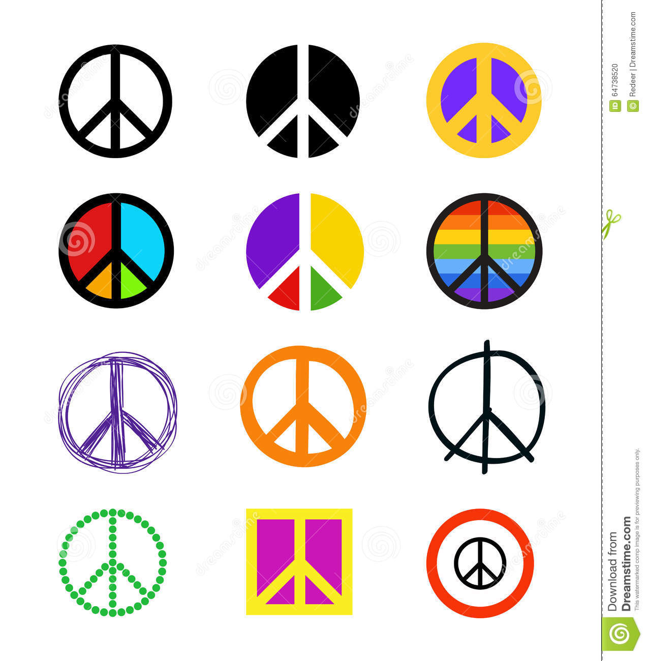 Set Of Peace Signs Colorful Symbols In Different Styles Stock