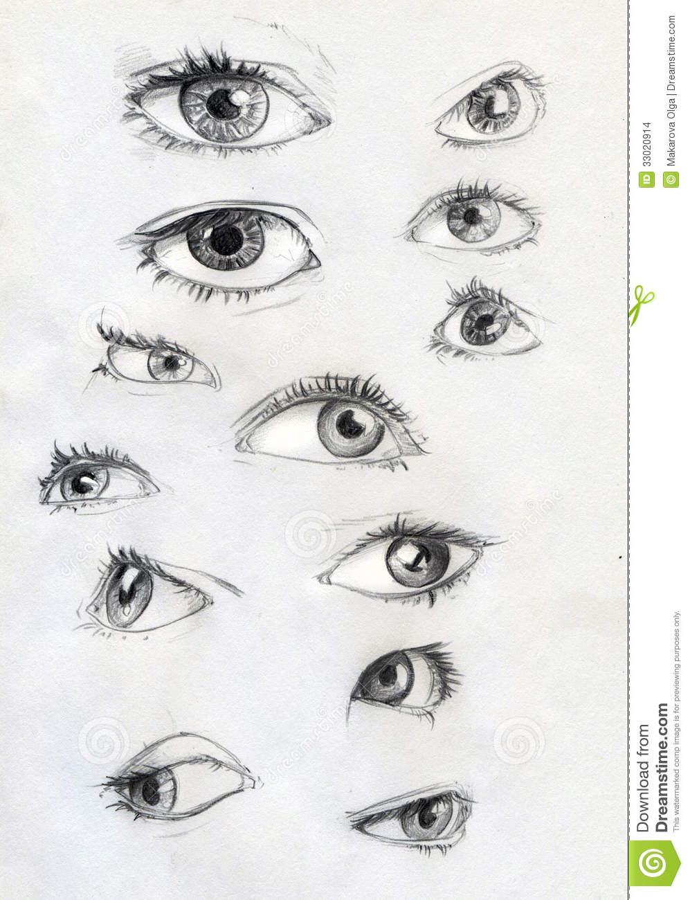 Set Of Pencil Drawn Ey...Eyes Looking Up Drawing