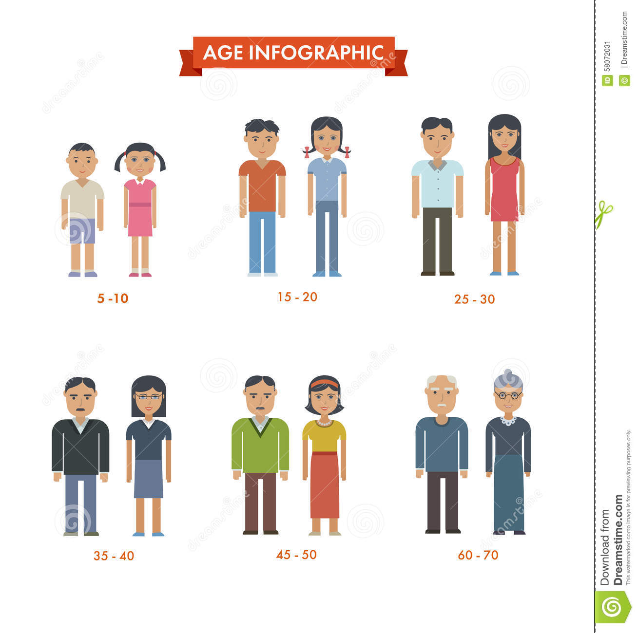 Set Of People Different Generations Stock Vector - Image: 58072031