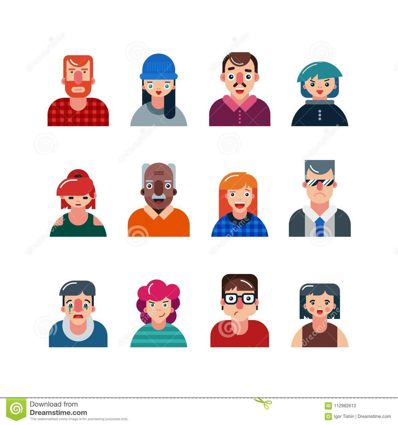 Set of people flat avatars. male and female faces. funny men and women characters. vector illustration