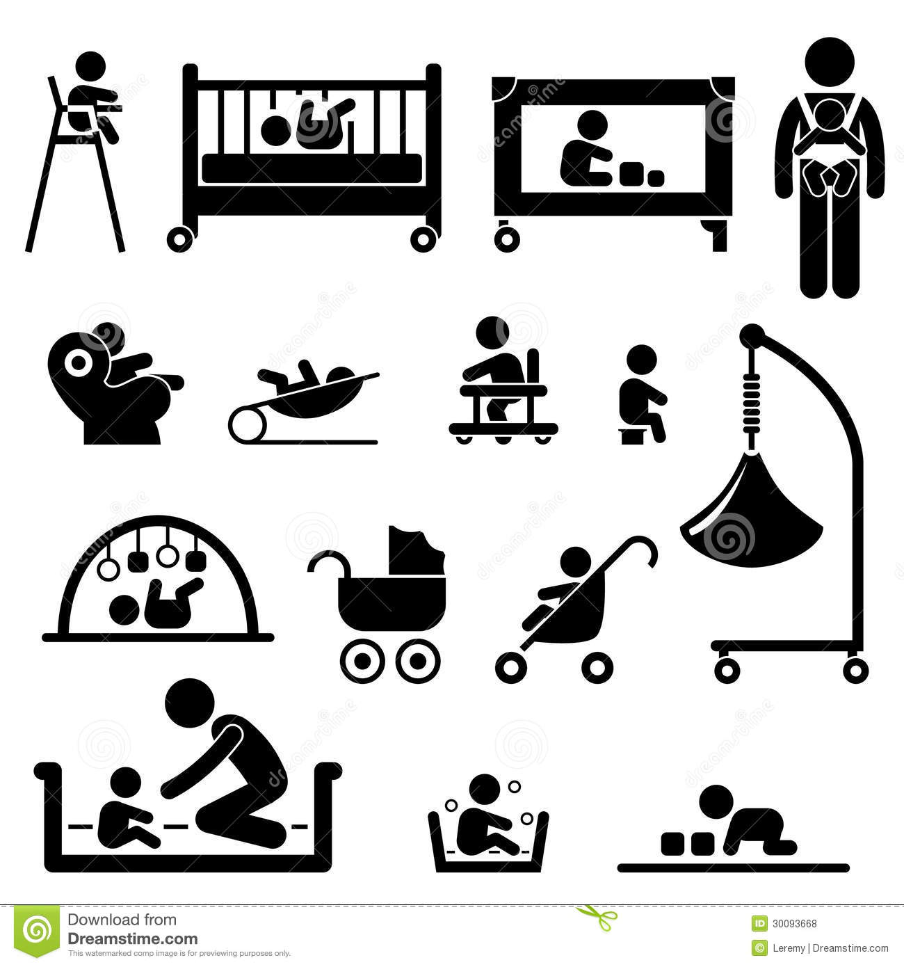 Royalty Free Stock Photos Set People Stick Figure Pictograms Representing Baby Caring Equipment Tools Image30093668 on playground equipment