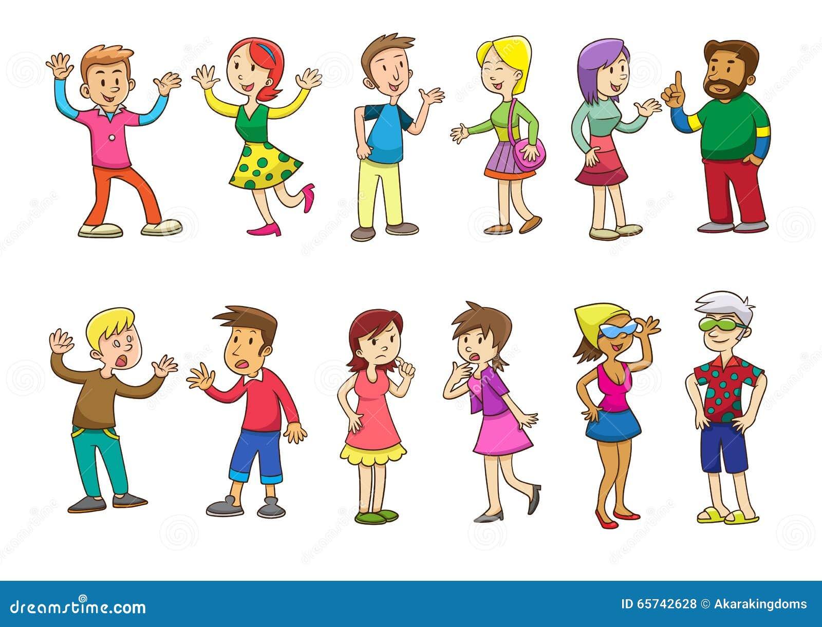Set Of People Talking Cartoon Stock Vector Illustration Of Couple