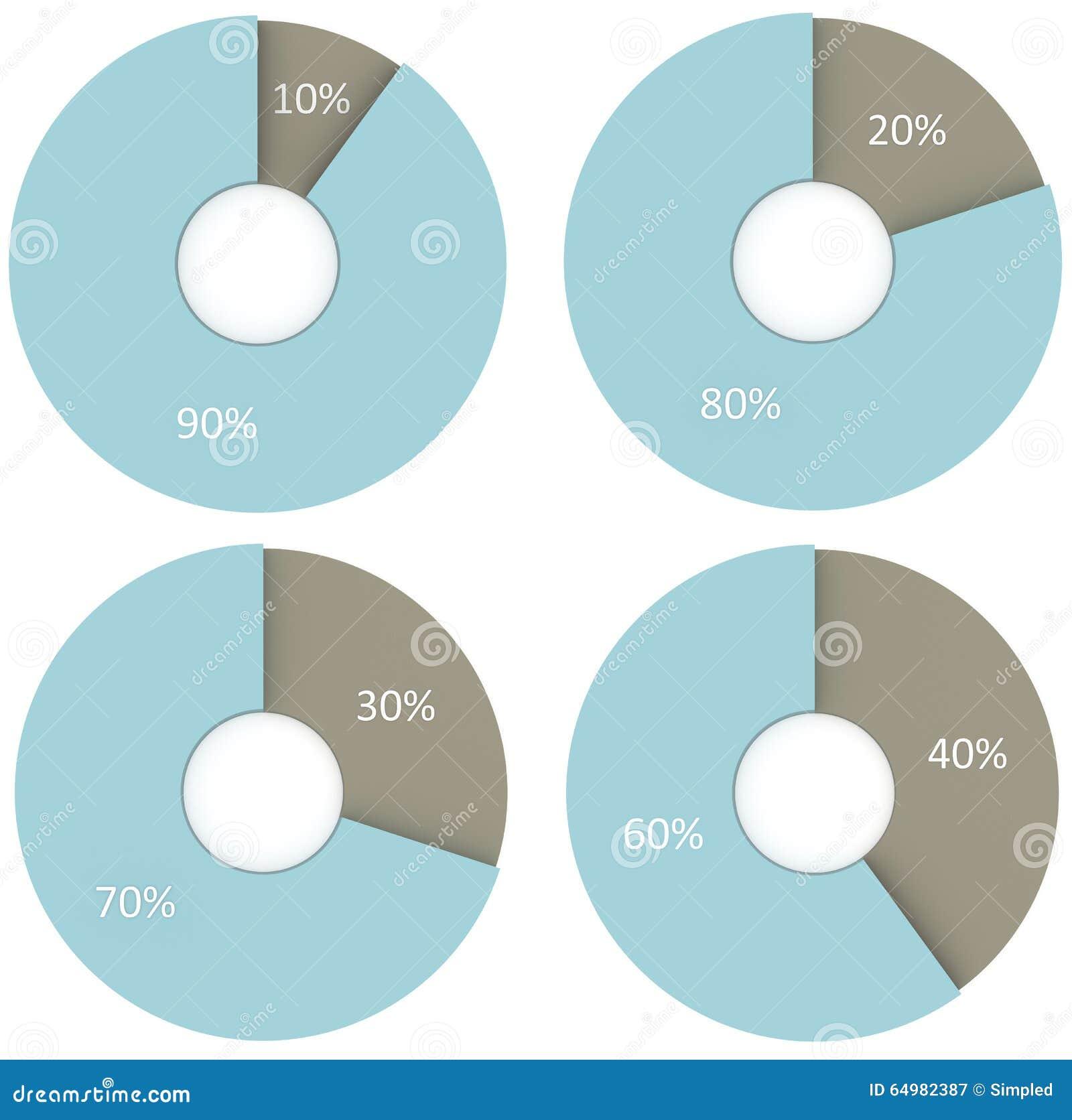 10 20 30 40 90 80 70 60 percent pie charts. Circle diagrams infographics set. 3d render business illustrations
