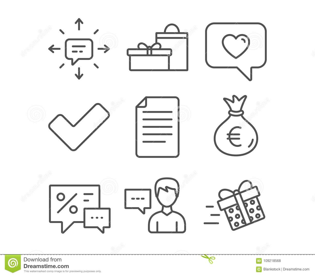 Person Talk Gifts And Love Message Icons Tick Money Bag And Sms