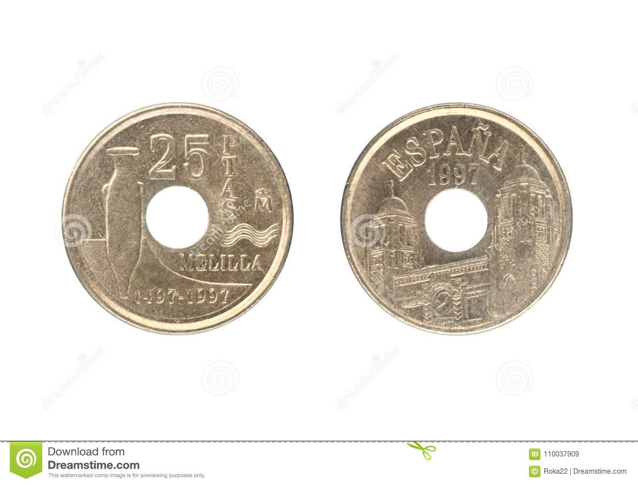 25 Pesetas Coin Issued By Spain In 1997 Stock Image Image Of