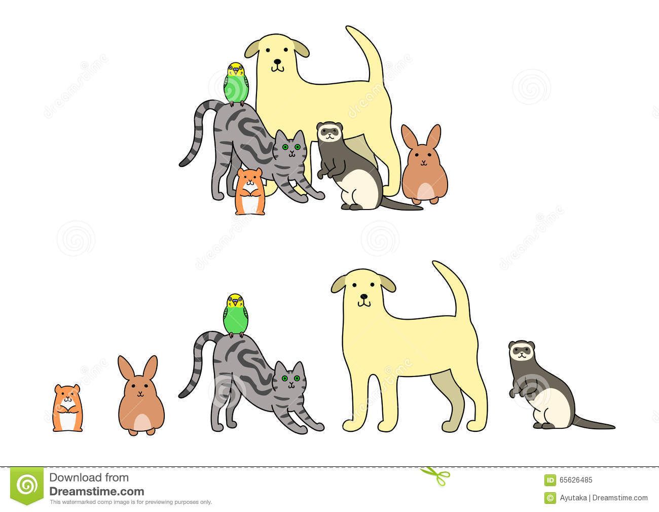 Set Of Pets Illustration Stock Vector Image 65626485
