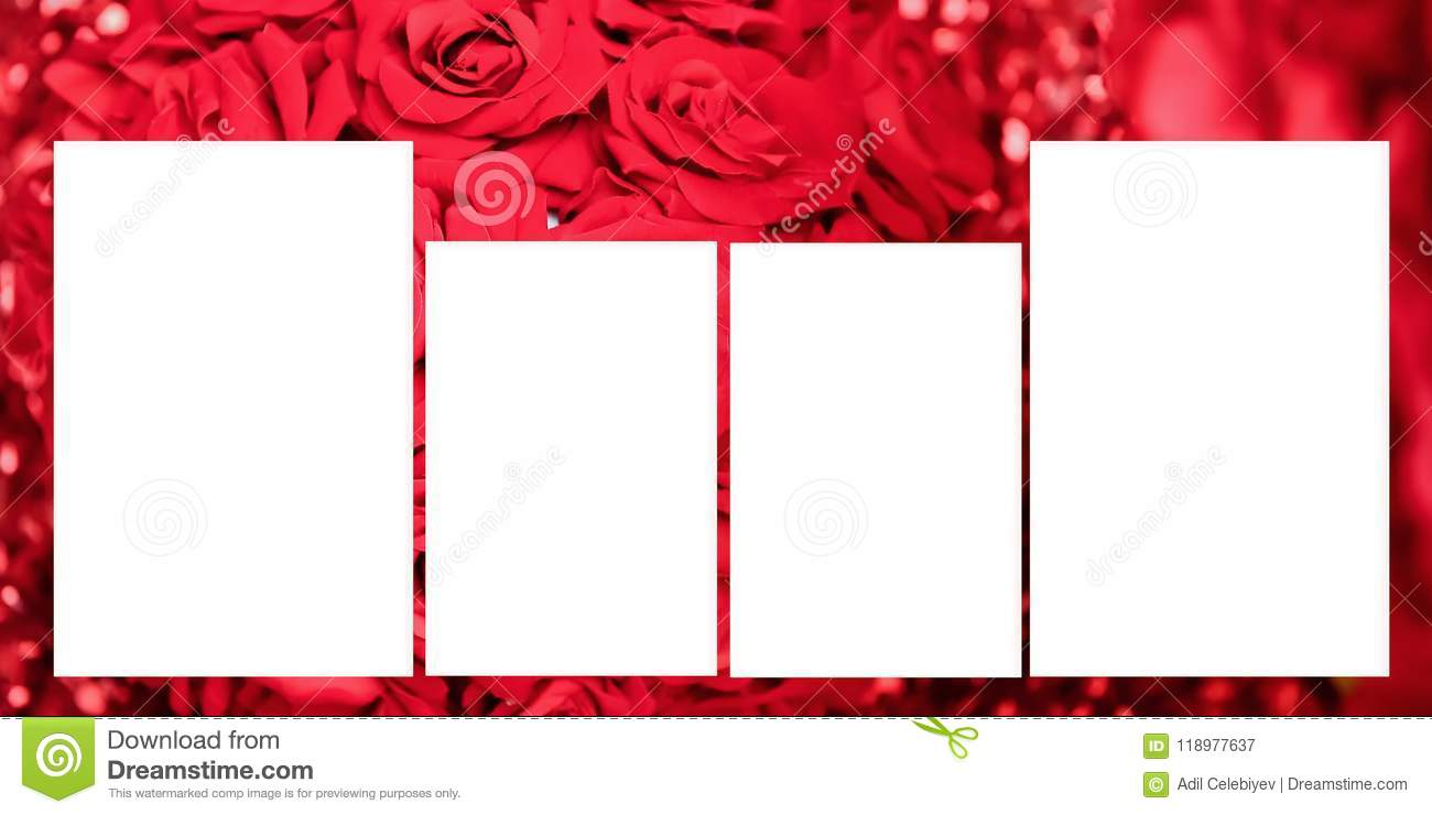 Set Of Photo Frame With Tape, On Red Backgrounds. Panoramic Album ...