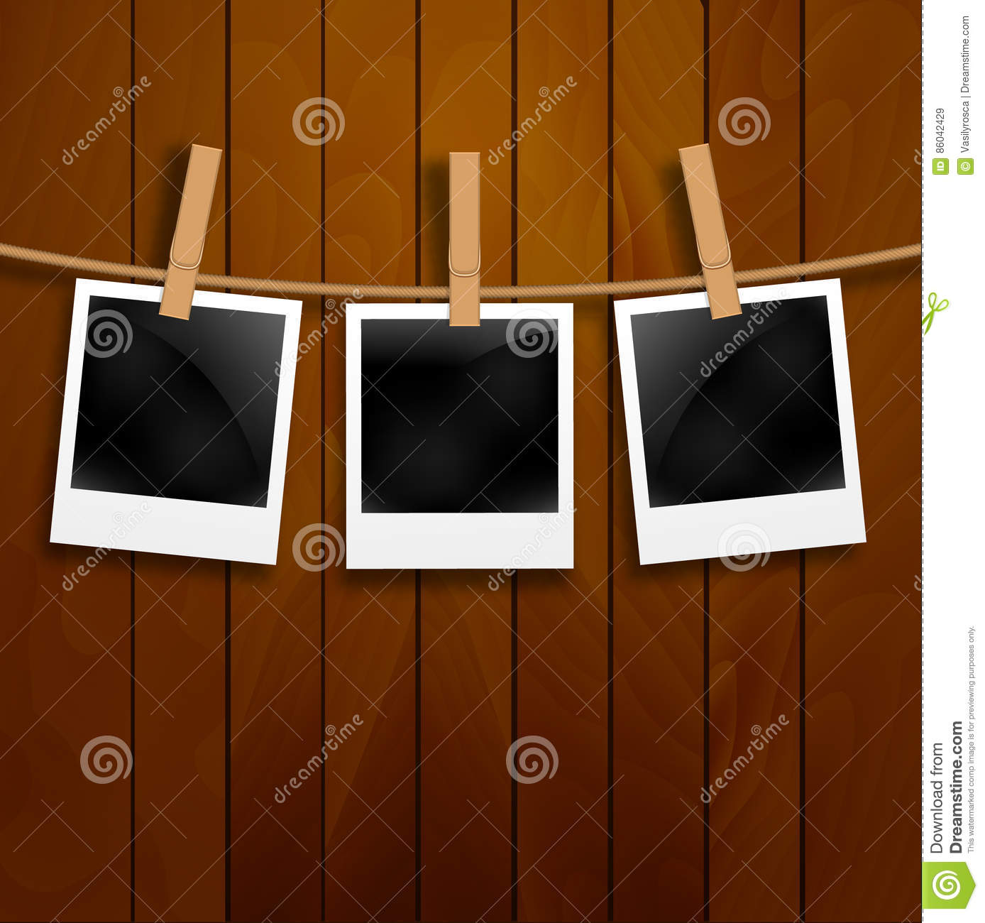 Wood frames set free vector - Royalty Free Vector Set Of Photo Frames On The Rope With Clothespin Polaroid Photo Frames Set On Wooden