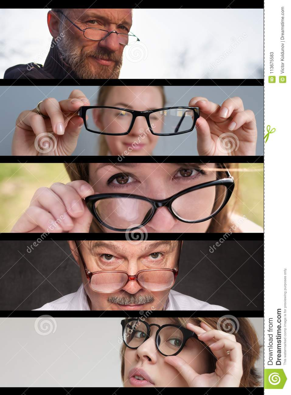 Set of photos of people men and women with glasses. Concept of having problems with eyes