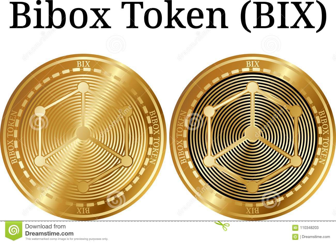 Set Of Physical Golden Coin Bibox Token BIX Stock Vector