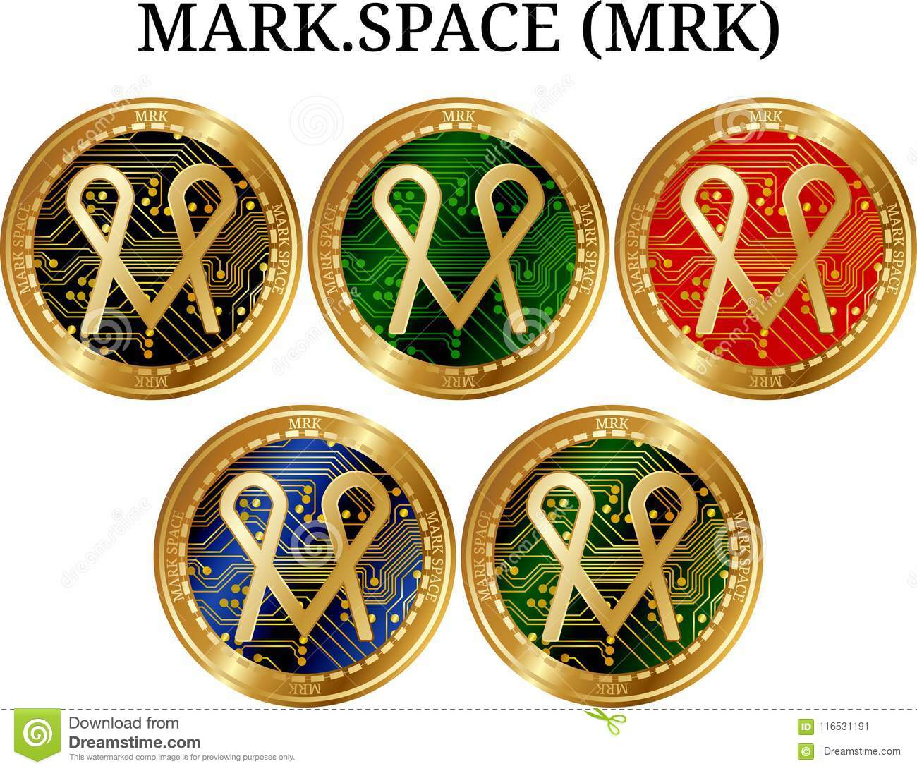 Set Of Physical Golden Coin Mark Space Mrk Stock Vector