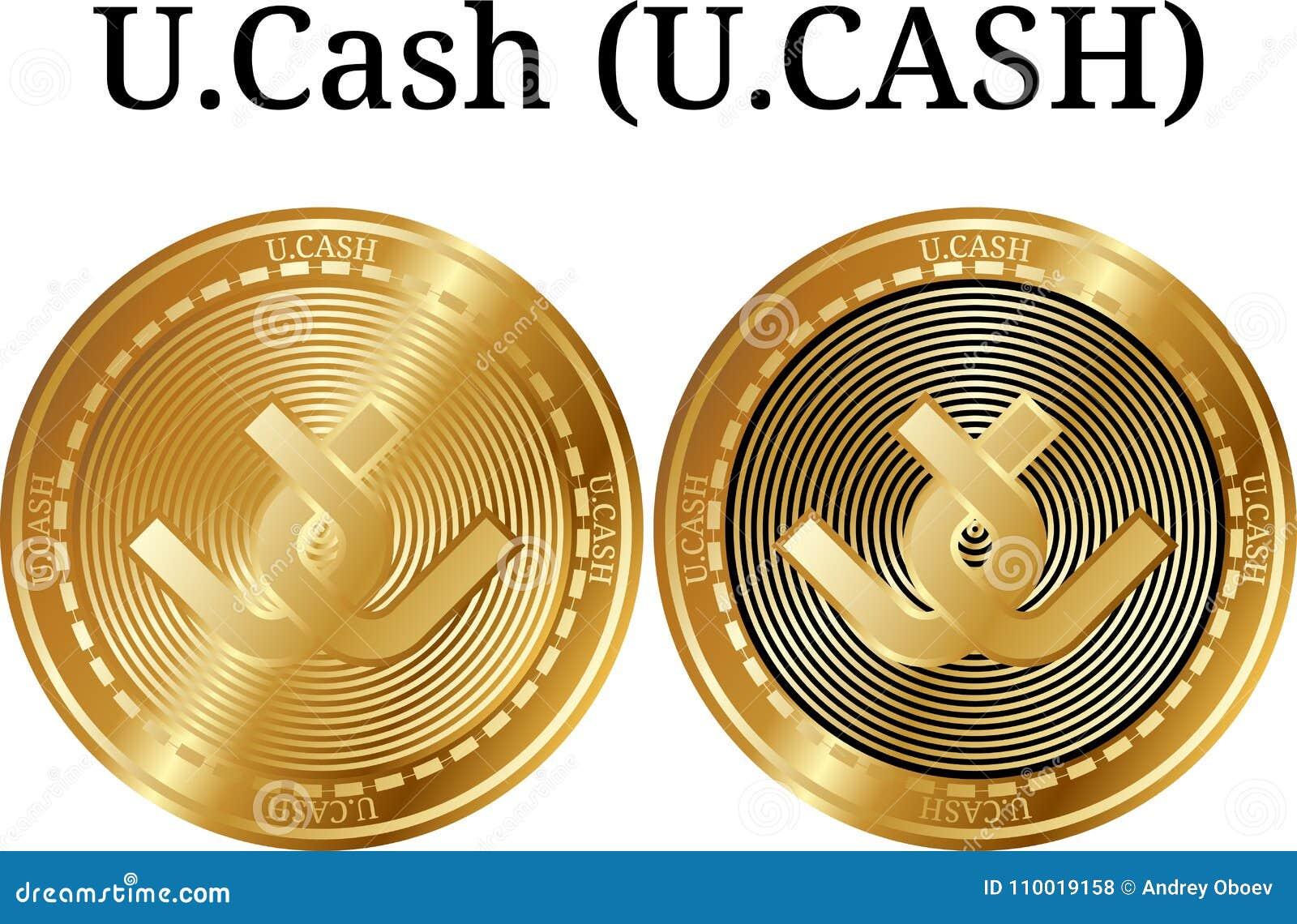 Set of physical golden coin U.Cash (U.CASH), digital cryptocurrency. U.Cash (U.CASH) icon set.