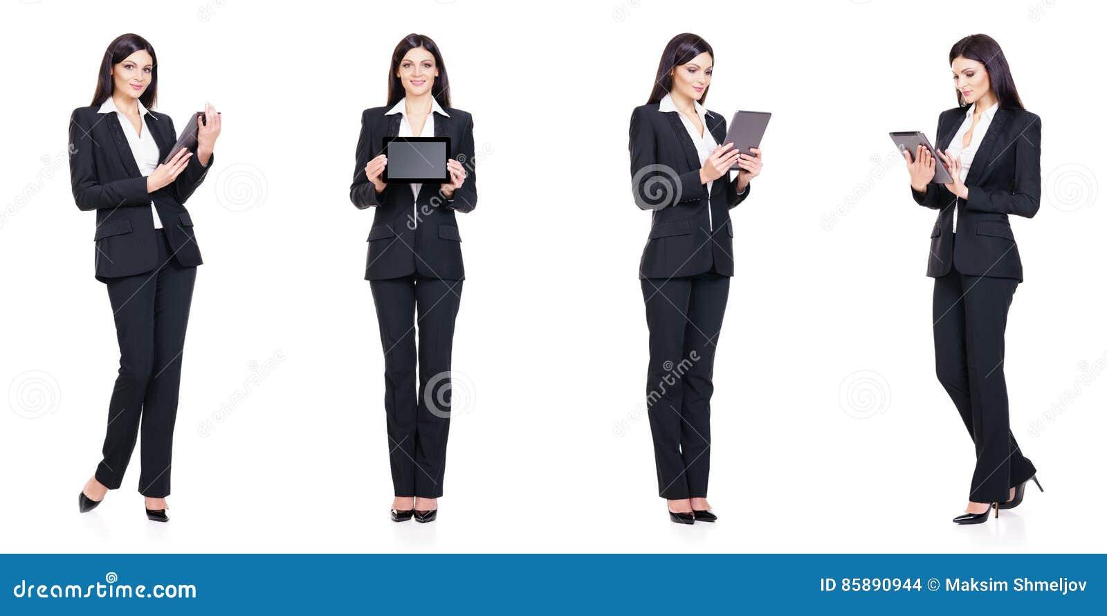 Set piękny, atrakcyjny bizneswoman odizolowywający na bielu, Biznes, kariera sukcesu pojęcie