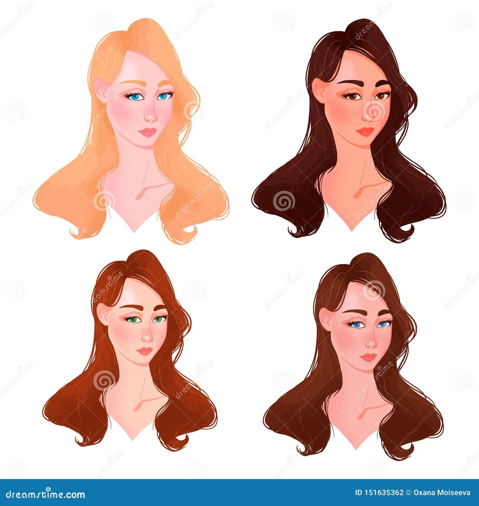 Set Piękny kobiety twarzy koloru typ