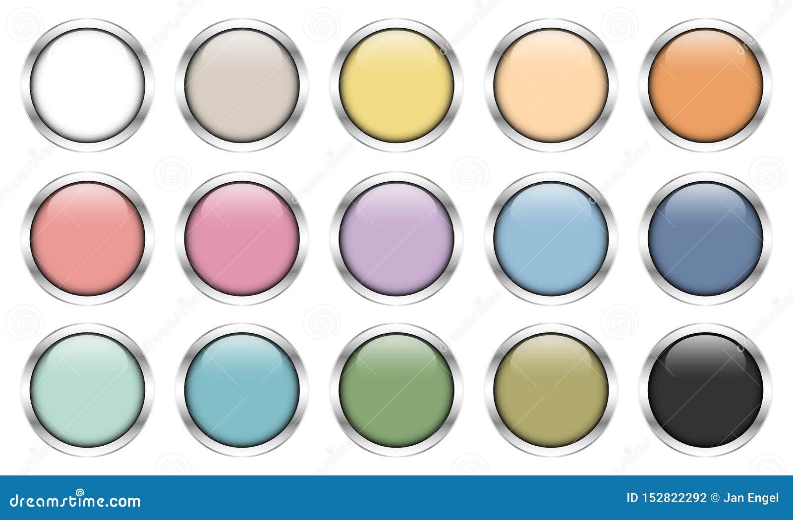 Set Piętnaście Glansowanych srebro guzików Retro kolorów