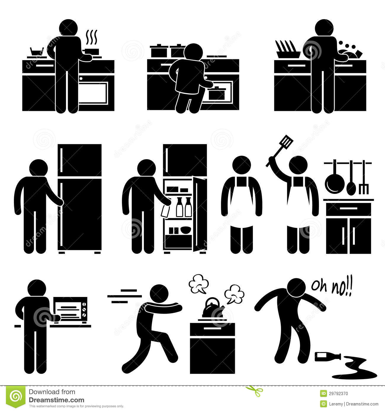 set pictograms representing man cooking using kitchen equipment 29792370