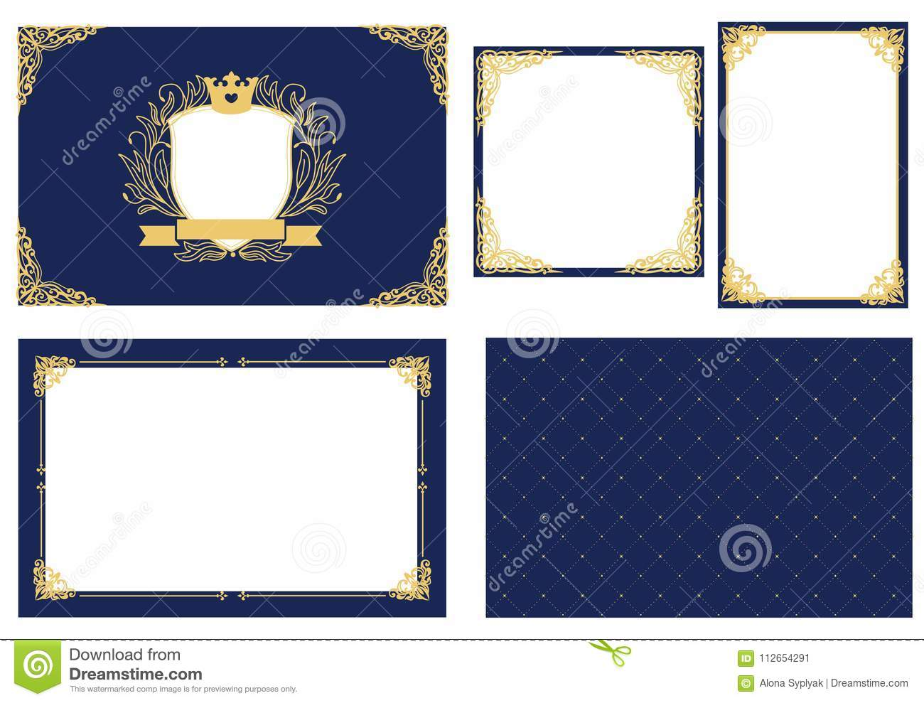 Set Of Picture Frame Dark Navy Blue With Gold Decorative