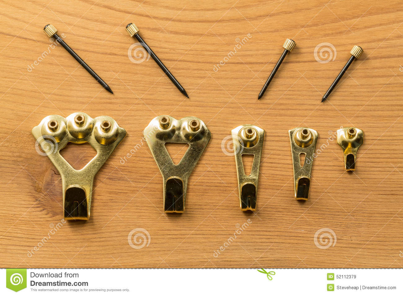 Set of picture hanging hooks and nails