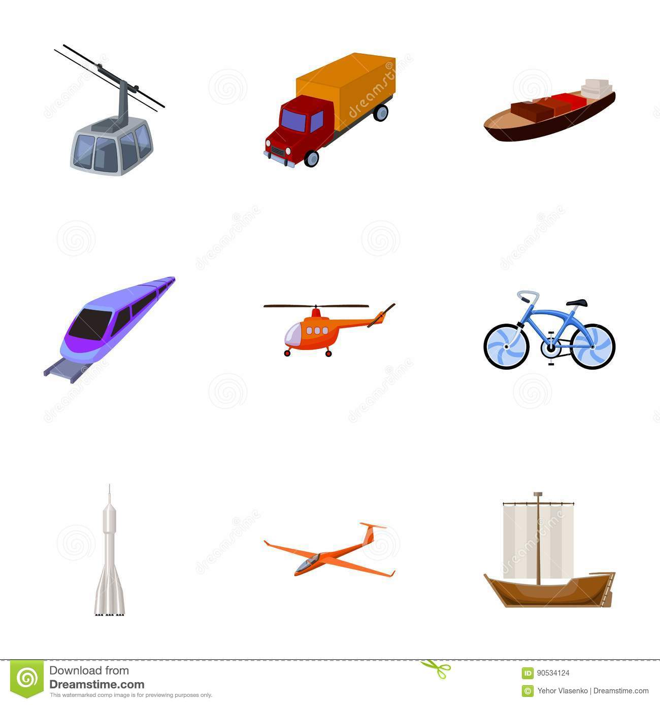 Set Of Pictures About Types Of Transport Transportation Of People