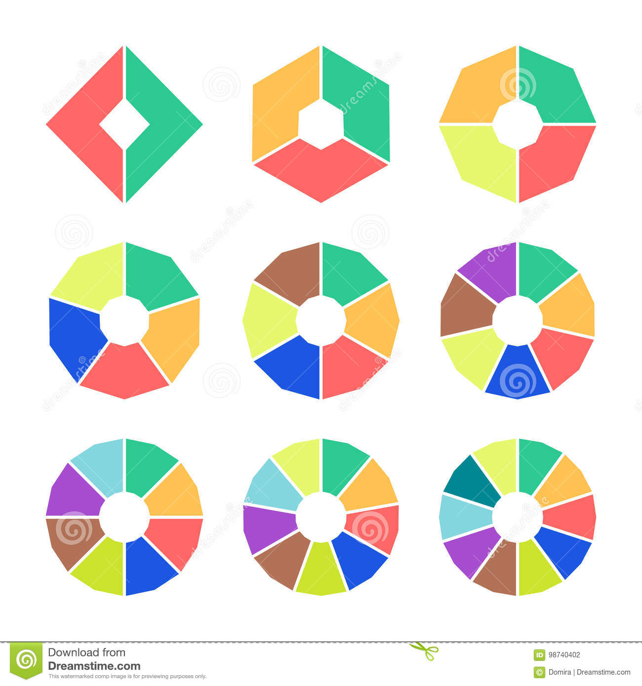Set Of Pie Charts With Straight Edges  Sectoral Angular