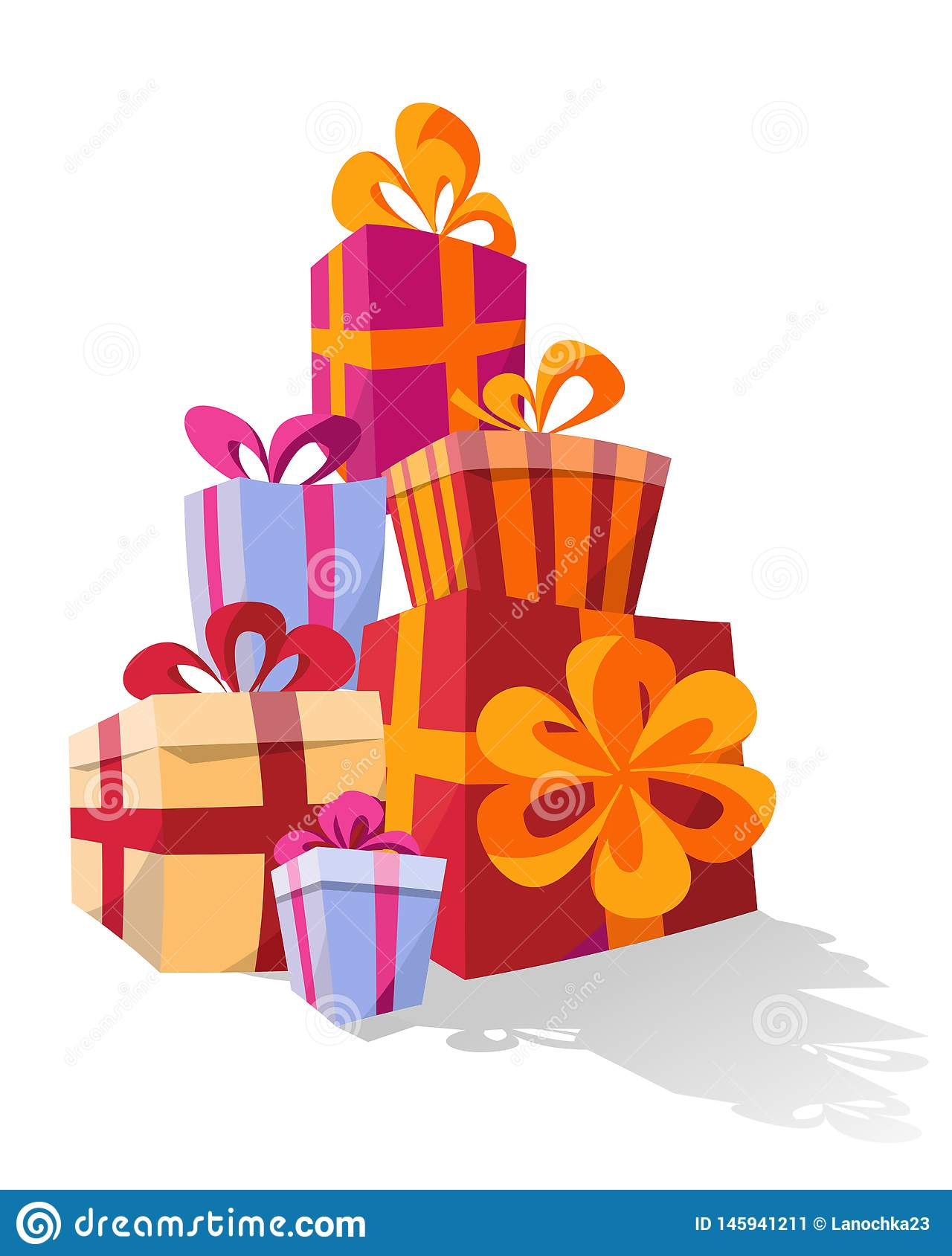Set of piles of colorful curved gift boxes. Mountain gifts. Cute Present box with Bows. Vector Illustration.Surprise