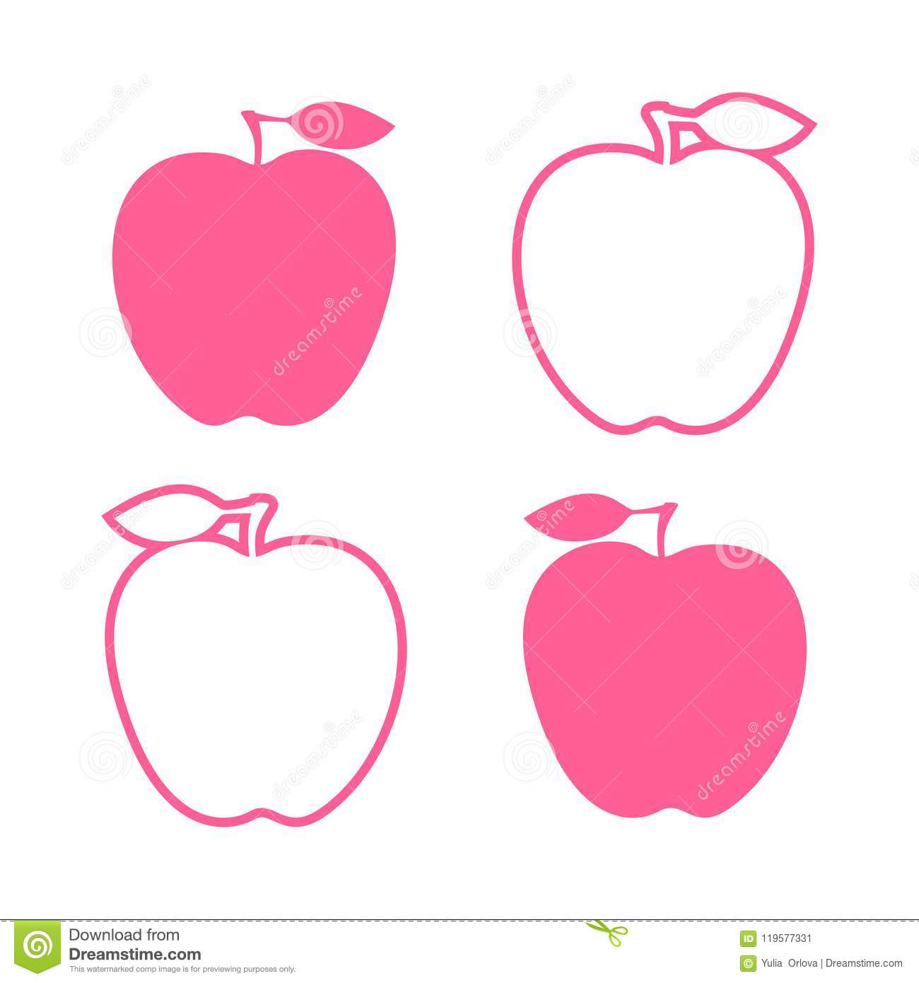 set pink apple sign. vector illustration isolated stock vector