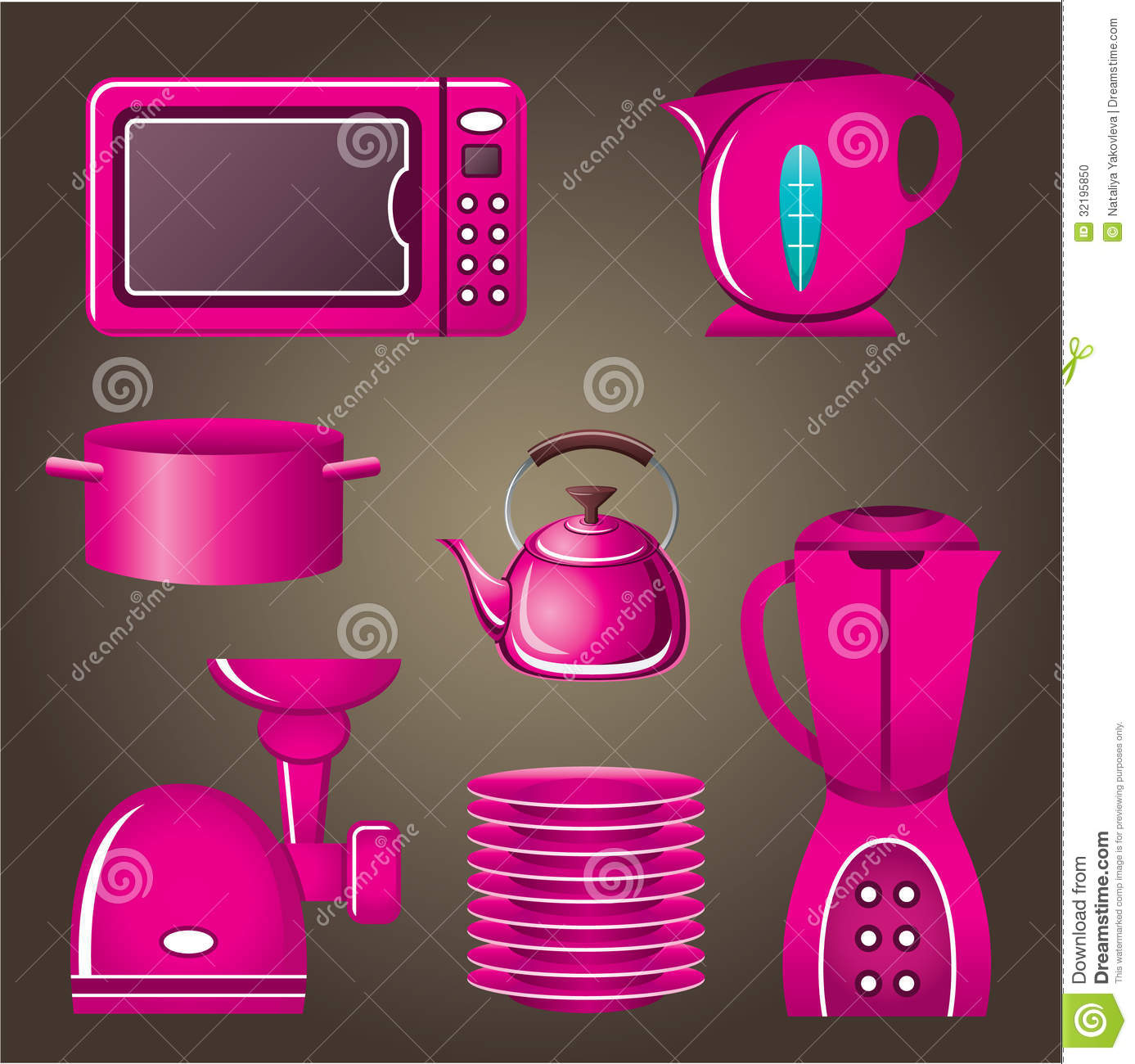 Uncategorized Pink Kitchen Appliance set pink cookware and kitchen appliances stock photo image 32195850 eps10 gradient pink