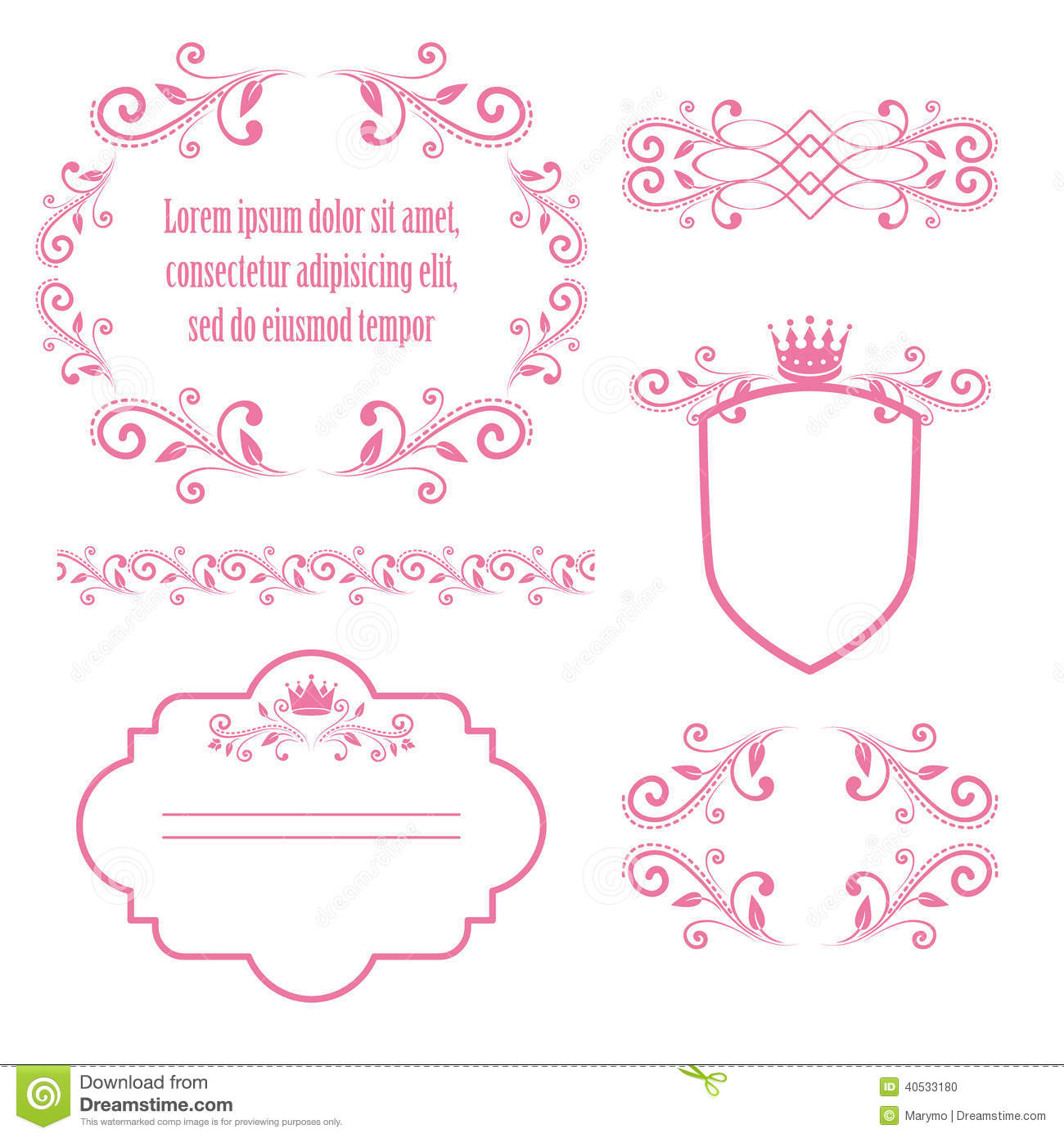Set Of Pink Floral Frames With Crowns Stock Vector - Illustration of ...