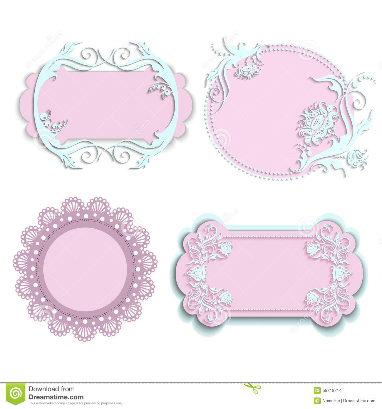 Set Of Pink Frames For Girls Stock Vector