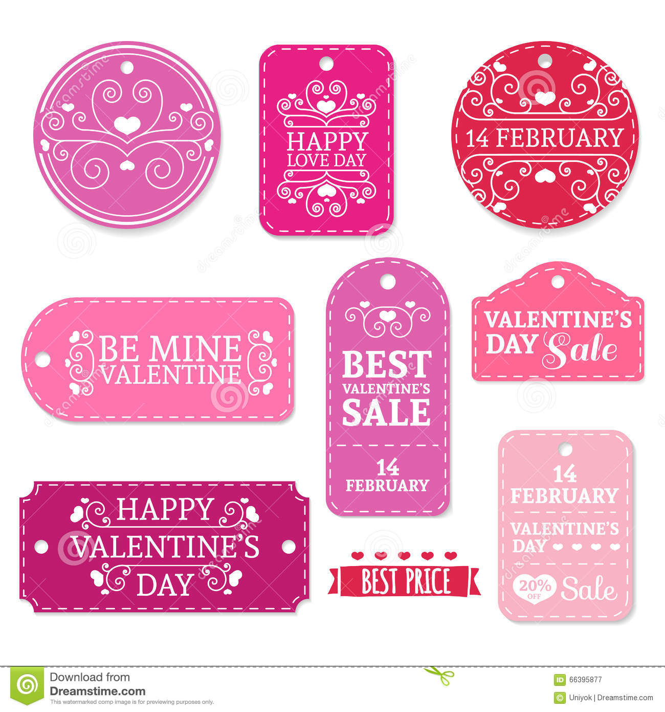 f8bc1dd1b5 Set of pink Valentine's Day stickers, labels, labels, coupons.Valentine's  Day discounts, promotions, offers. Vector. Place for your text