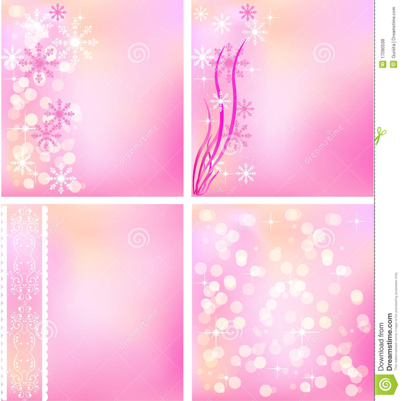 Set Of Pink Winter Backgrounds Stock Vector