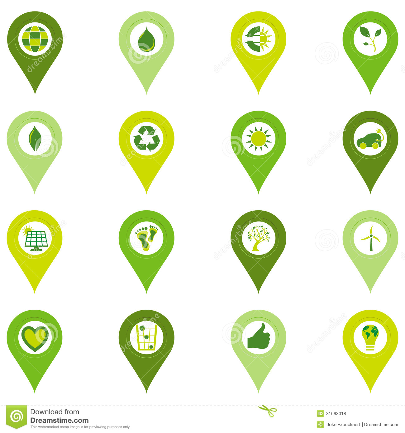 Set Of Pinpoint Icons Of Bio Eco Environmental Related Symbols Stock