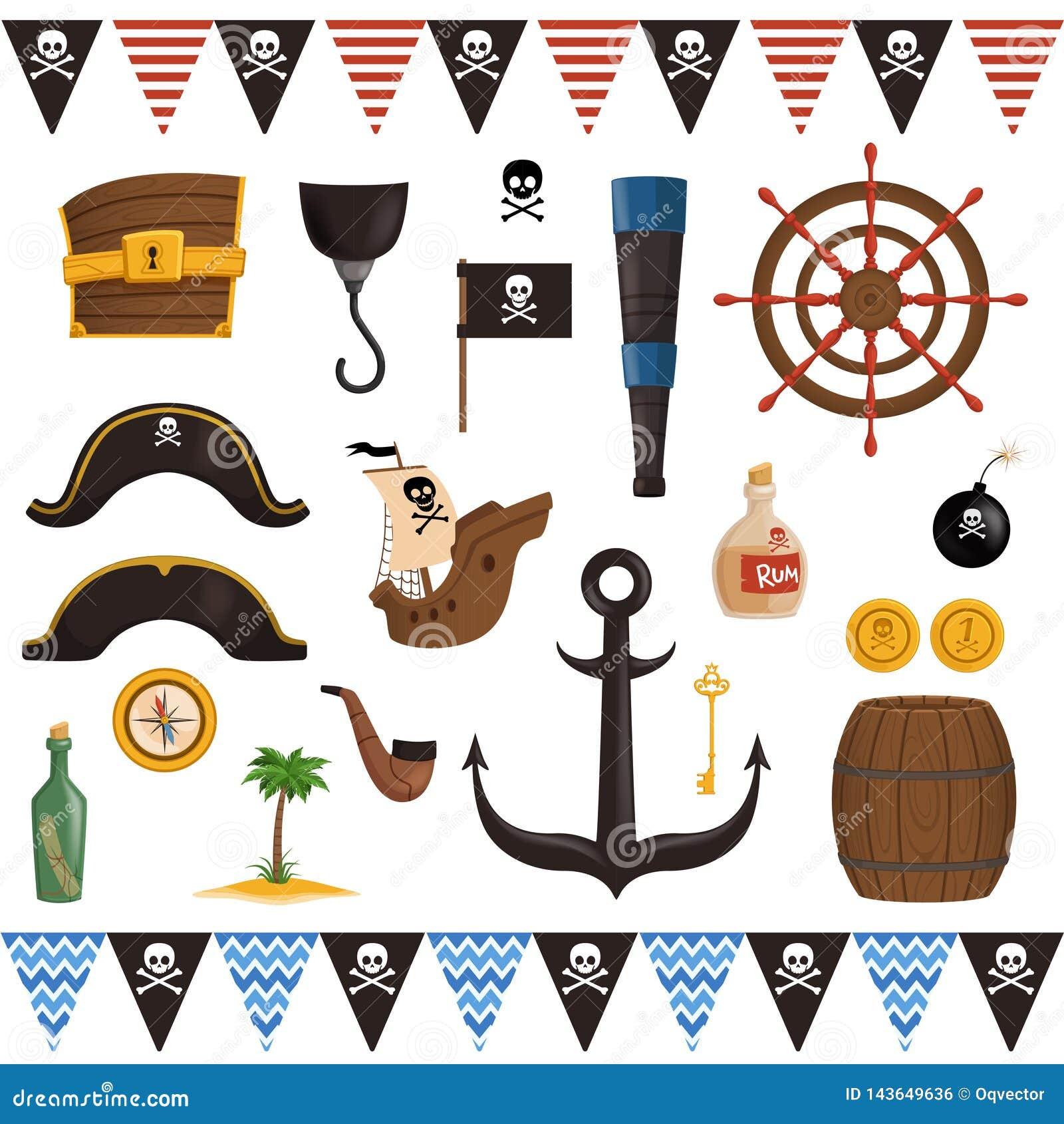 Set piratów atrybuty dla wakacje w kreskówka stylu