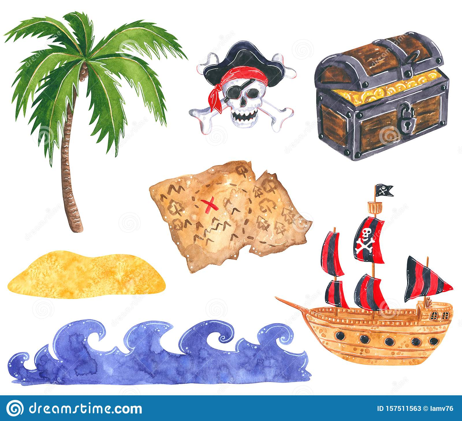 Set Of Pirate Clipart Pirate Ship Treasure Chest With Gold Coins Treasure Map Ocean Waves Stock Illustration Illustration Of Colorful Drawing 157511563
