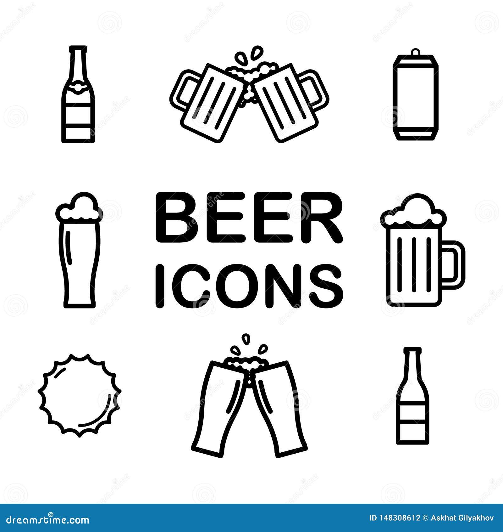 Set piwo linii ikony Alkohol, napój, pół kwarty, szkło, butelka, może wektor