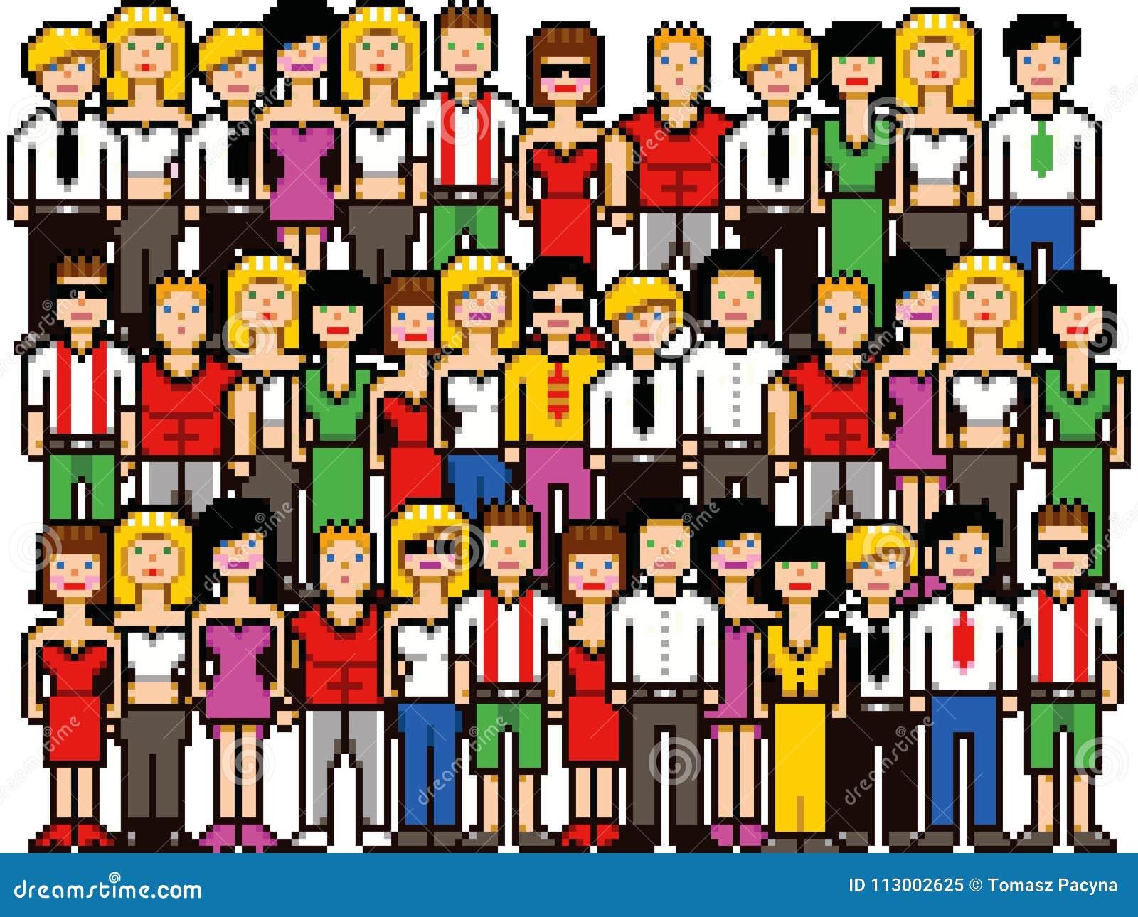 Set Of Pixel Art People Crowd Vector Illustration Stock Vector Illustration Of Group Pixel 113002625