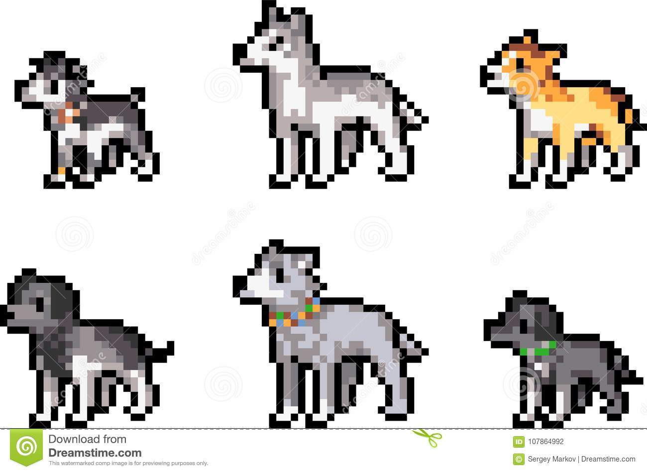Set Of Pixel Dogs Stock Vector Illustration Of Pattern
