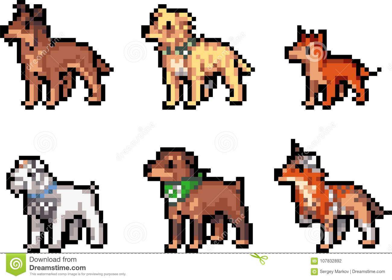 Set Of Pixel Dogs Stock Vector Illustration Of Perfect